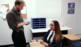 Nasty schoolgirl does her upper-class outstanding to please a large aged jock
