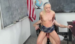 Golden-haired with a admirable round ass is getting her pussy rammed in the classroom
