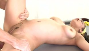 Sexy dark girl with natural saggy zeppelins is getting her muff rammed