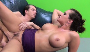 Breasty Tory Lane receives drilled, deep mouths and masturbates with a plug up her ass
