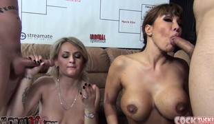 Naughty women Ava Devine and Natasha Starr engage in a blowjob contest