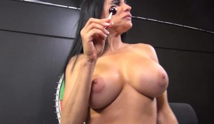 Stacked brunette hair milf Sheila Maire surrenders her love tunnel to a darksome bull