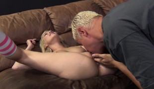 Perky breasted blonde Tiffany Fox relishes a deep fucking on the bed