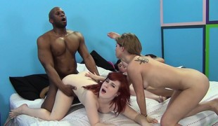 Horny strumpets Emma Snow, Saddie Kennedy and Holly Starr enjoy rods galore in an interracial gangbang