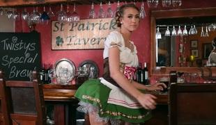Sex-hungry barmaid Stefanie Joy enjoys playing with pussy sitting on the bar stool