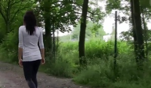 Excited German Whore from old bag outdoors drilled on a public way...