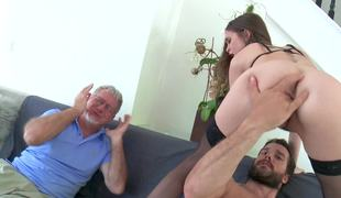 Old spouse is watching while his dark brown wife gets rammed hard
