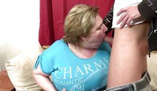 Overweight mature banged by a young stud