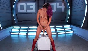 Insatiable babe finds fun in machines