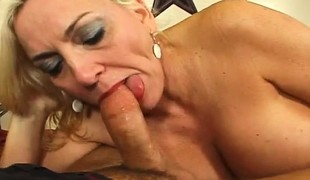 Stacked blonde mom Cara can't receive enough of a young stud's hard dong