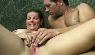 He drills a large tit brunette and when done, this babe rubs one out herself