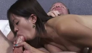 Miniature bodied Asia Zo gives head and rides hard dick on top