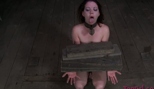 Sweet dark brown chick Lila Katt is punished by her mistress