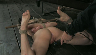 Hogtied bootyful pale brunette gets fingerfucked really hard