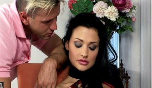 Lustful darksome haired Euro beauty laid in a hot 3some