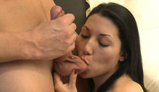 Sexy brunette sister in law sucking schlong and fucking doggystyle
