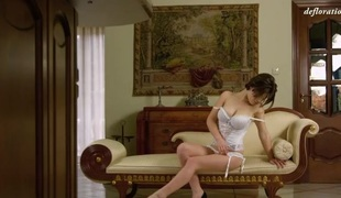 Big breasted virgin is tantalizing in white lingerie