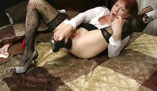 Granny trying out the huge dildo this babe nub stuck