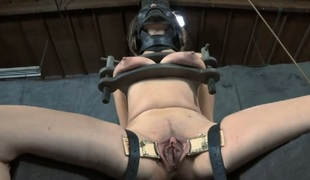 Handcuffed up chick acquires doggy position plowing from tormentor