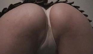 Schoolgirl upskirt geek cameltoes white pants fingers