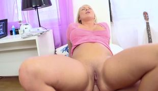 Blonde with large tits is doing anal sex with a really horny gut