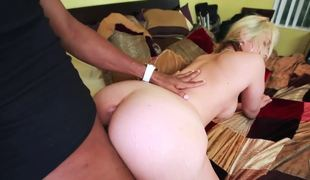 Kinky blond cutie can't live without to be pounded by large dark lewd stud