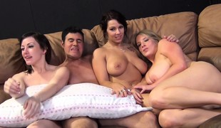 Maggie, Jennifer and Lylith stuff their hungry vaginas with hard cocks