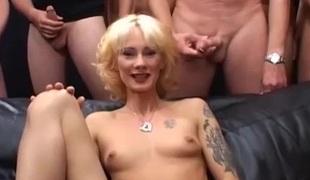 Skinny german MILFs first extreme gangbang bukakke fuck party orgy