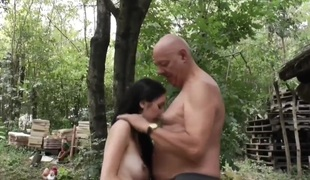 Old Vs Young-Preggy Outdoor Fuck