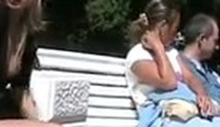 Wicked in public Blonde gal flashing her vagina in public