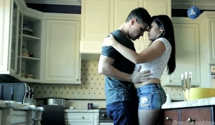 Husband fucks his breasty wife Raylene in the kitchen