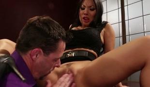 Oriental whore Asa Akira impales her anus on big dick in cowgirl pose