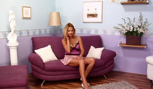 Naughty Leticia spreads her legs for an excellent masturbation game