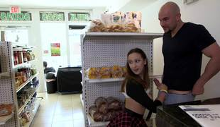 Lucky shaved stud fucks a beautiful teenage girl in the mini market