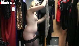 Horny couple have a pleasure a fuck in a sex shop