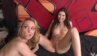 2 constricted babes shared a cock for cash