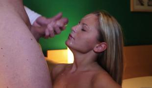 Gorgeous blond slut Vanda Lust sucks a dick