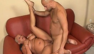 Bulky grandma Vass gets licked and dicked and rubs her hard clit
