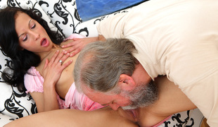 Sweet beauty gives blowjob to older ally who fucks her wet crack with her boyfriend watching - OldGoesYoung