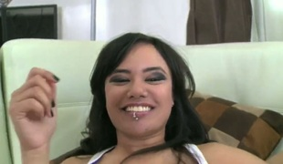 Brunette chicana Annie Cruz with phat bottom gets her bush pumped by horny man