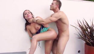 Maddy Oreilly is a sexually excited cutie with a delicious ass. It is the 1st thing that men notice on her. In this scene it's getting an anal team fuck after she has gotten a dick hard with her mouth.
