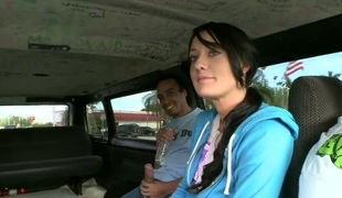 Brooklyn Jade is a sexy brat that needs to be taught a lesson. She gets one in the back of a van in this video. The brunette hair is taught with a large meat stick.