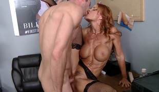 Janet Mason with biggest breasts enjoys Jordan Ashs sausage in her mouth in insane oral-stimulation action