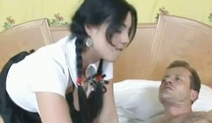 Skanky college student Stracy riding her teacher's hard dick like a cowgirl
