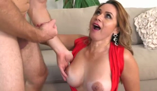 Picked up lady in red Gabbriella masturbates in the car and gives blowjob indoor