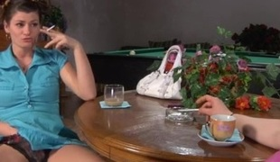 Stephanie and Gloria mature in lesbian act