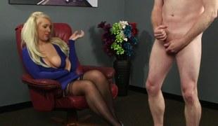 Blonde domina humiliates
