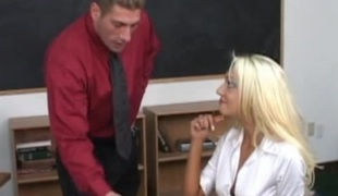 Not so smart coed has to blow and fuck her teacher to pass