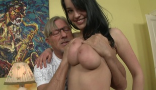 Pleasing foot fetish juvenile hottie giving her old guy stunning blowjob