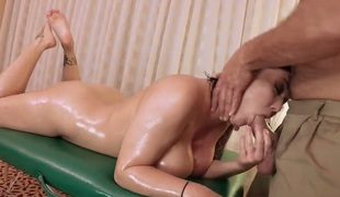 Bare MILF Claire Dames with fake giant tits and smooth pussy shows off her nice body to lucky dude on kneading table. This babe gets her snatch licked and then screwed hard. Shes as a result fucking sexy!